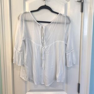 White blouse with tie back